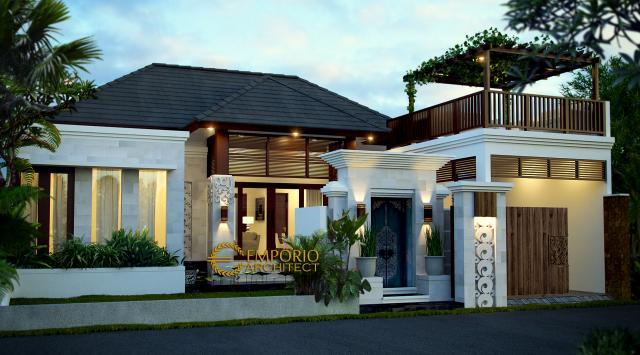 Desain Exterior 1 Rumah Villa Bali 1 Lantai Bapak Krisna di Kerobokan, Badung