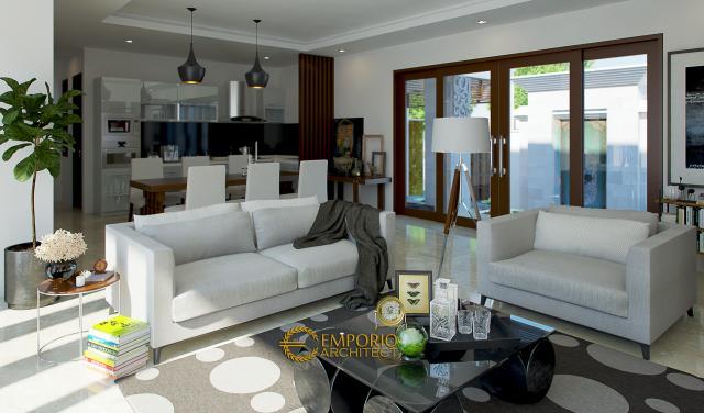 Desain Ruang Keluarga dan Ruang Makan Rumah Villa Bali 1 Lantai Bapak Krisna di Kerobokan, Badung
