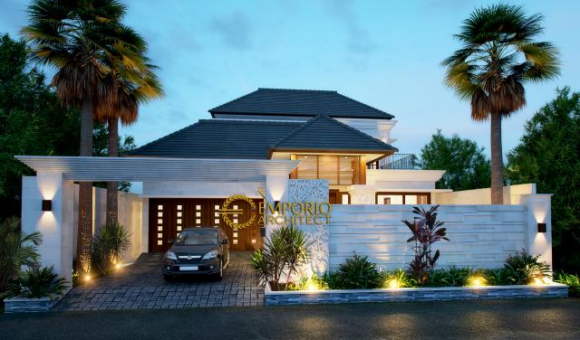 Desain Tampak Depan Rumah Villa Bali 2 Lantai Bapak Kustanto di Jakarta