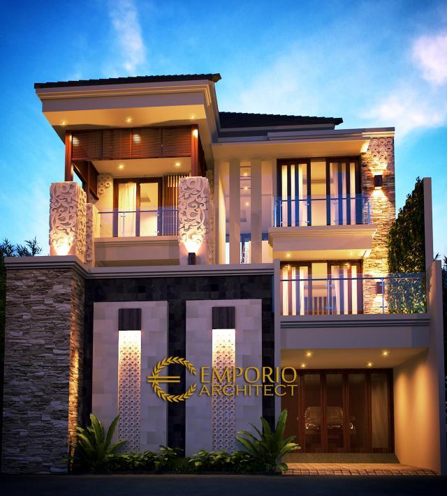 Desain Tampak Depan Rumah Villa Bali 3 Lantai Bapak Nursantyo di Jakarta