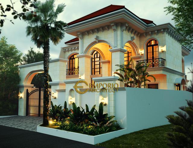 Desain Tampak Depan Rumah Mediteran 2 Lantai Bapak Philipe di Jakarta