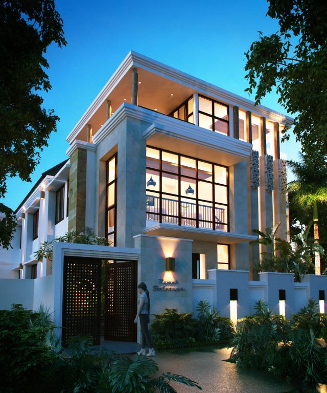 Desain Tampak Depan Rumah Kos Modern 3 Lantai Bapak Saichu di Bandung