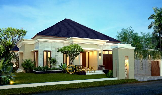 Desain Exterior Rumah Villa Bali 1 Lantai Bapak Toha di Sumatera Utara