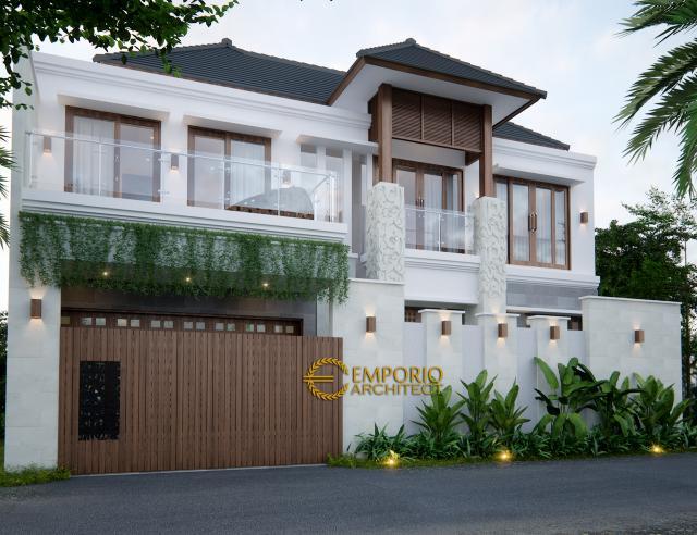 Desain Tampak Depan Rumah Villa Bali 2 Lantai Bapak Wartawan di Denpasar, Bali