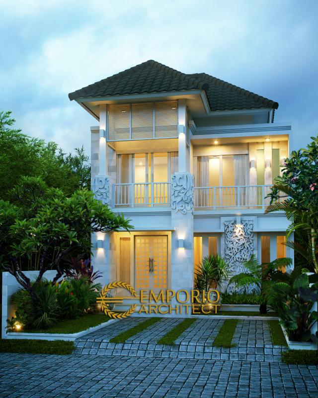Desain Exterior Rumah Villa Bali 2 Lantai Ibu Dwidina di Malang, Jawa Timur
