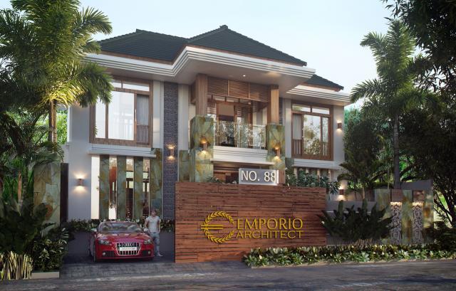 Desain Tampak Depan Rumah Villa Bali 2 Lantai Ibu Heny di Kalimantan