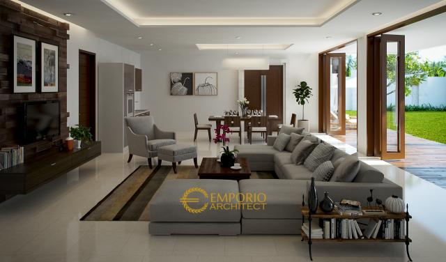 Desain Ruang Keluarga Rumah Ibu Rina di Cibubur, Jakarta