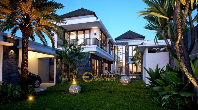 Desain Exterior VIlla Modern 2 Lantai Ibu Cempaka di Canggu, Bali