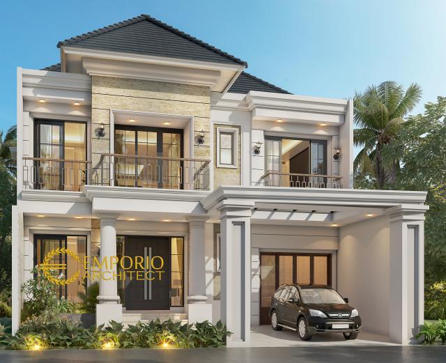 Desain Tampak Depan Rumah Classic 2 Lantai Bapak Willy di Flores, Nusa Tenggara Timur