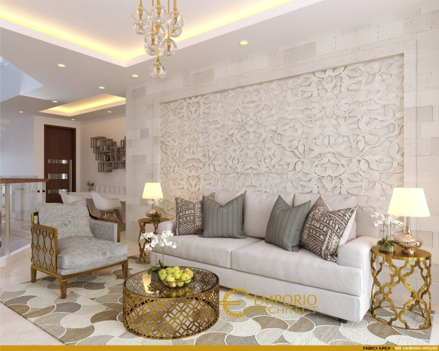Desain Ruang Keluarga Rumah Mr. Vaibhav dan Mr. Nilesh di India