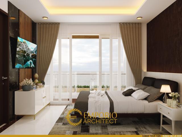 Desain Kamar Tidur Tamu Rumah Modern 3 Lantai Ibu Lie Sien di Jakarta Barat