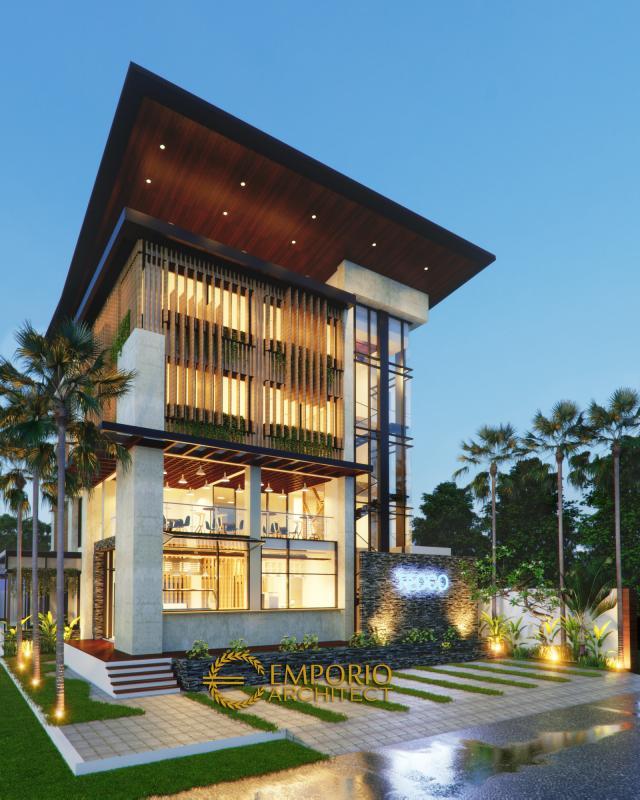 Desain Tampak Depan Kantor Modern 5 Lantai Bapak Teddy di Jakarta