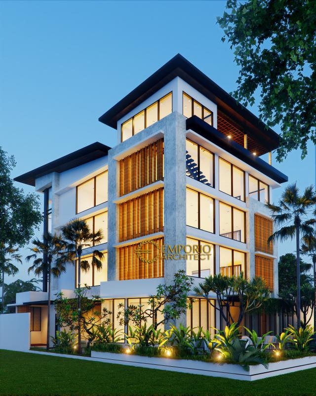 Desain Tampak Belakang Kantor Modern 5 Lantai Bapak Teddy di Jakarta