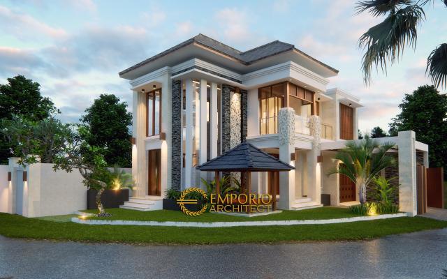 Desain Tampak Depan Rumah Hook Villa Bali 2 Lantai Bapak Adit Brata II di Jakarta