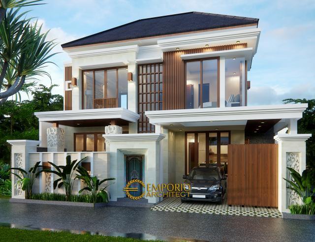 Desain Tampak Depan Rumah Villa Bali 2 Lantai Bapak Agung di Jakarta