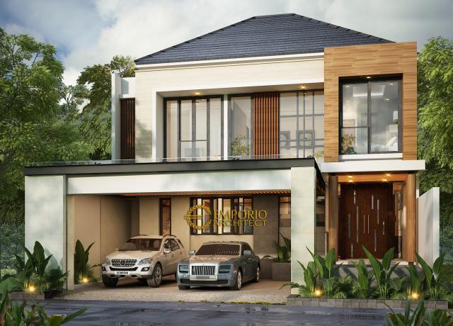 Desain Exterior Rumah Modern 2 Lantai Bapak Andrean Siahaan di Jakarta Selatan