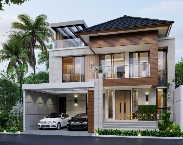 Desain Tampak Depan Rumah Modern 3 Lantai Bapak Andy di Jakarta