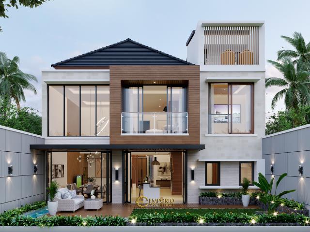 Desain Tampak Belakang Rumah Modern 3 Lantai Bapak Andy di Jakarta