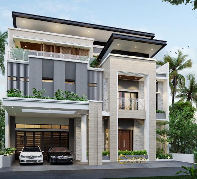 Desain Tampak Depan 1 Rumah Modern 2 Lantai Bapak Frangky di Jakarta