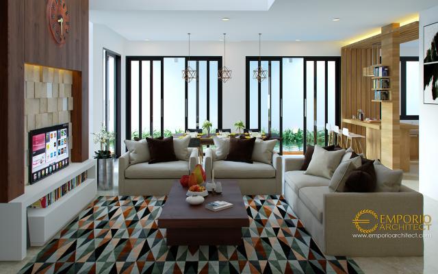 Desain Ruang Keluarga Rumah Hook Modern 3 Lantai Bapak Muhammad di Jakarta