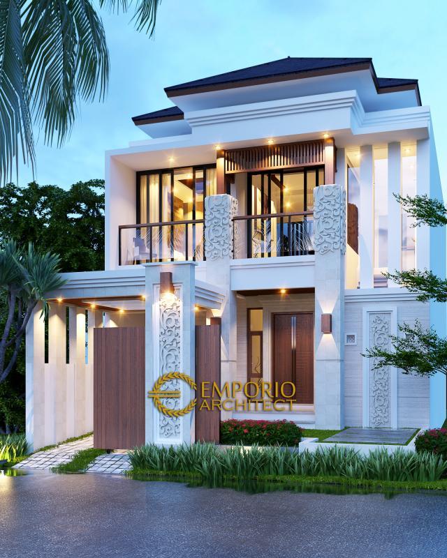 Desain Exterior Rumah Villa Bali 2 Lantai Ibu Riyanto di Jakarta