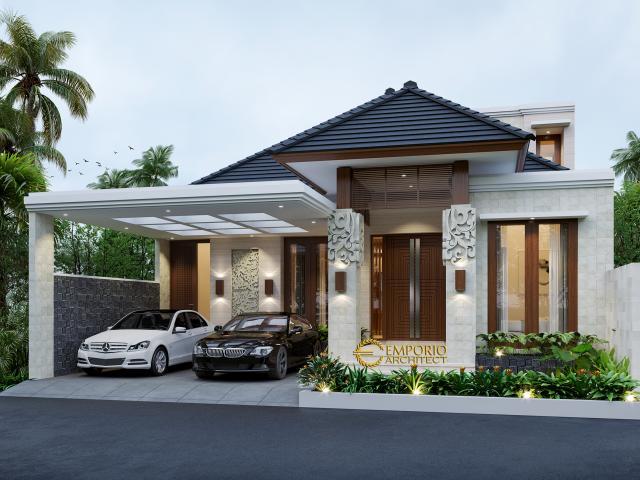 Desain Tampak Depan Rumah Villa Bali 1.5 Lantai Bapak Zulkarnaen di Jakarta