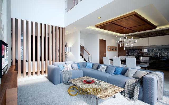 Desain Ruang Keluarga Rumah Villa Bali 2 Lantai Ibu Heny di Jakarta