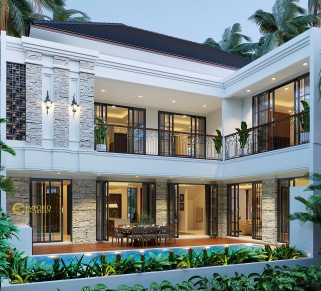 Desain Tampak Belakang Rumah Hook Classic Tropis 2 Lantai Ibu Indah di Jakarta