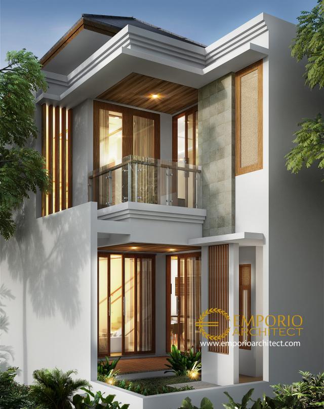 Desain Tampak Belakang Rumah Villa Bali 2 Lantai Ibu Wulan di Jakarta