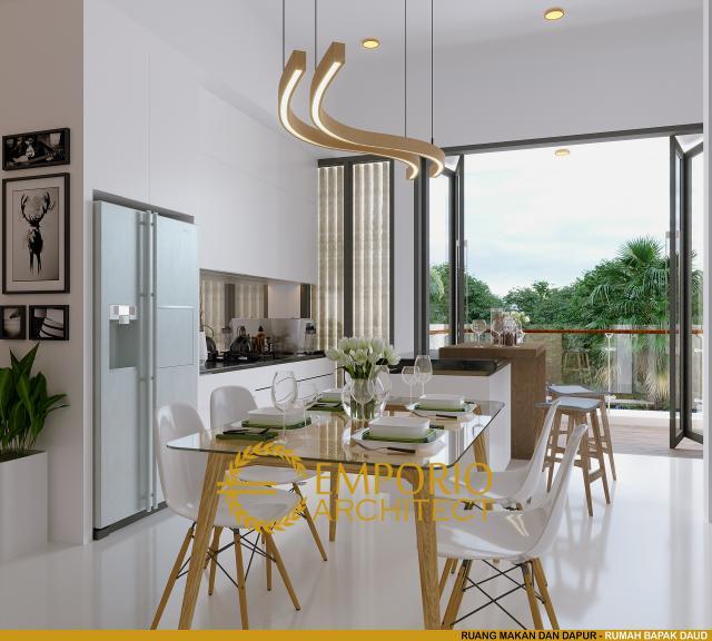 Desain Ruang Makan dan Dapur Rumah Modern 3 Lantai Bapak Daud di Jakarta Barat