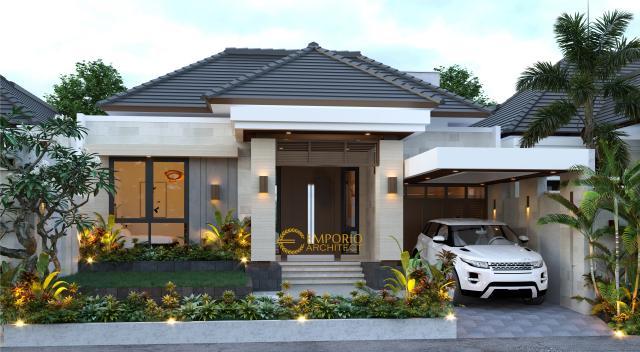 Desain Tampak Depan Rumah Villa Bali 1.5 Lantai Bapak Ronald di Jakarta