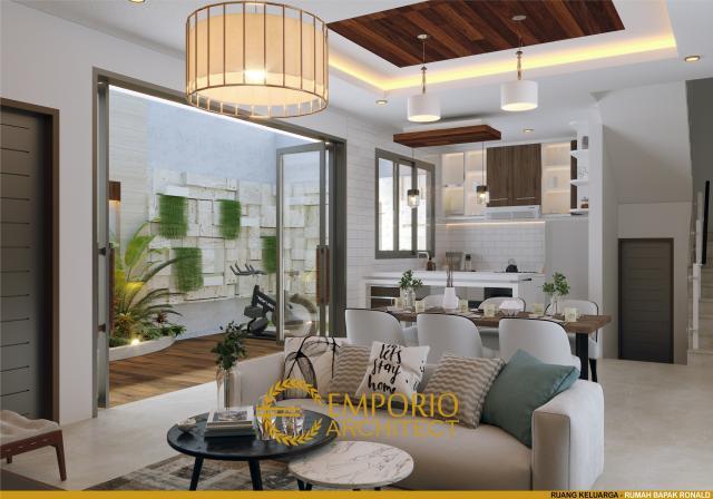 Desain Ruang Keluarga Rumah Villa Bali 1.5 Lantai Bapak Ronald di Jakarta
