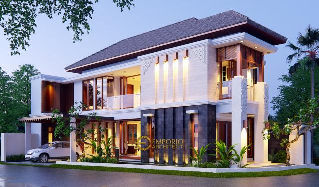 Desain Tampak Depan Rumah Hook Villa Bali 2 Lantai Bapak Oki di Jakarta Pusat
