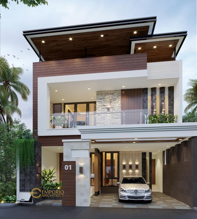 Desain Tampak Depan Rumah Modern 3 Lantai Bapak Donny di Jakarta Timur