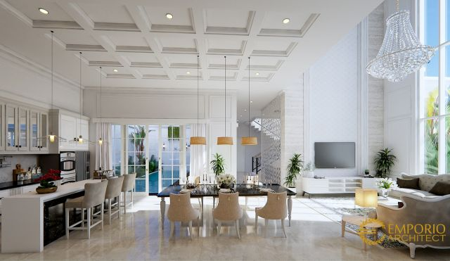 Desain Ruang Keluarga, Ruang Makan, dan Dapur Rumah Bapak Tony di Jambi