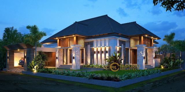 Desain Tampak Depan Rumah Hook Villa Bali 1 Lantai Bapak Suharyoso II di Bontang, Kalimantan Timur