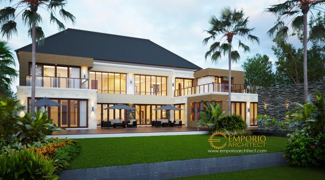 Desain Tampak Belakang Rumah Villa Bali 2 Lantai Bapak Yudi di Kutai Kartanegara
