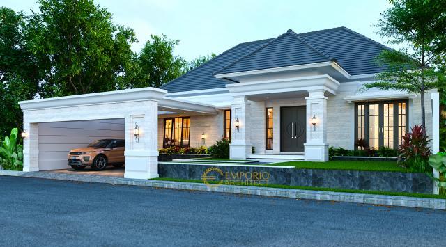 Desain Tampak Depan Tanpa Pagar 1 Rumah Classic 1 Lantai Bapak Arip di Magetan, Jawa Timur