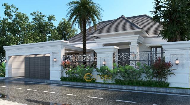 Desain Tampak Depan Dengan Pagar Rumah Classic 1 Lantai Bapak Arip di Magetan, Jawa Timur