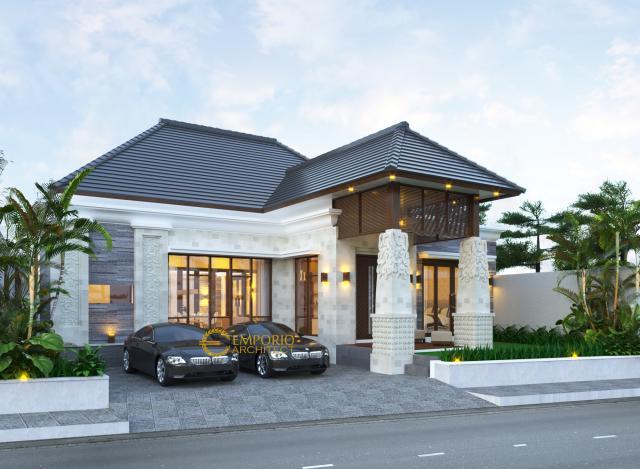 Desain Tampak Depan Rumah Villa Bali 1 Lantai Ibu Ponky di Malang