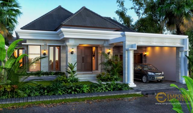Desain Tampak Depan Rumah Villa Bali 1 Lantai Ibu Dhini di Medan