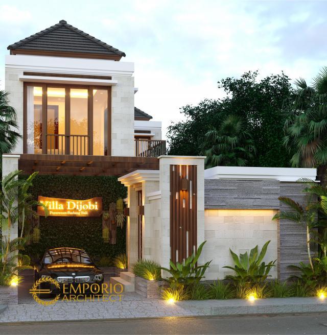 Desain Tampak Depan Villa Style Villa Bali 2 Lantai Bapak Koming di Mengwi, Badung, Bali
