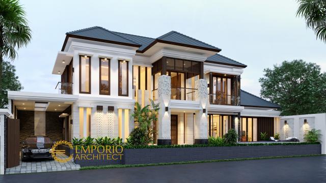 Desain Tampak Depan Rumah Villa Bali 2 Lantai Ibu Ratna di Mengwi, Bali