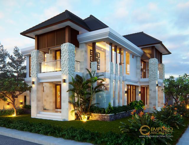 Desain Tampak Depan 1 Rumah Hook Villa Bali 2 Lantai Ibu Suli di Palangka Raya
