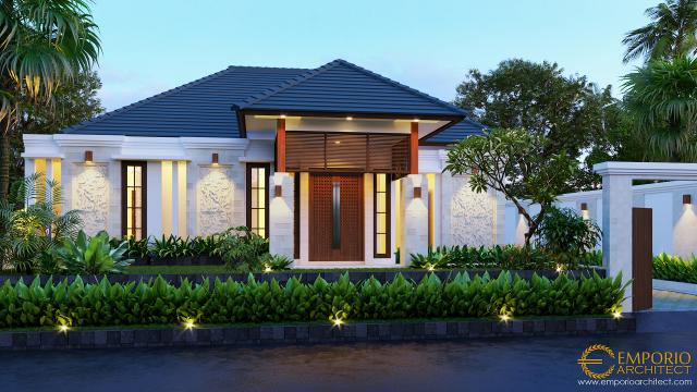 Desain Exterior Rumah Villa Bali 1 Lantai Bapak Anwar II di Palangka Raya, Kalimantan Tengah