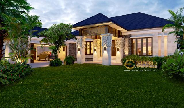 Desain Tampak Depan Rumah Villa Bali 1 Lantai Ibu Zahara di Palembang