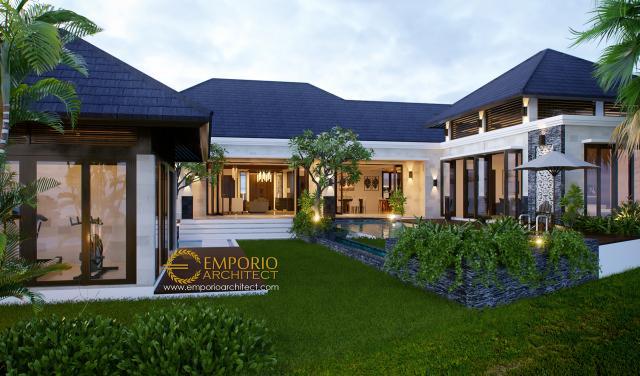 Desain Tampak Belakang 1 Rumah Villa Bali 1 Lantai Ibu Zahara di Palembang