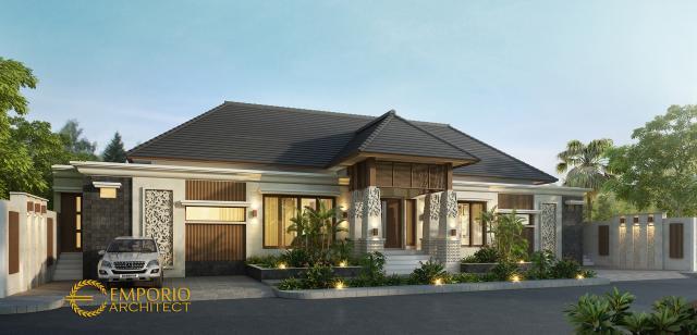 Desain Tampak Depan Rumah Villa Bali 1 Lantai Ibu Shelly di Palu, Sulawesi Tengah