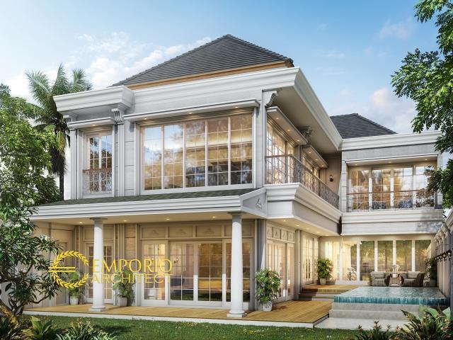 Desain Tampak Belakang Rumah Classic 2 Lantai Bapak Dody di Pekanbaru, Riau