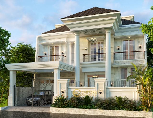 Desain Tampak Depan Rumah Classic 3 Lantai Bapak Sinaga di Pekanbaru, Riau